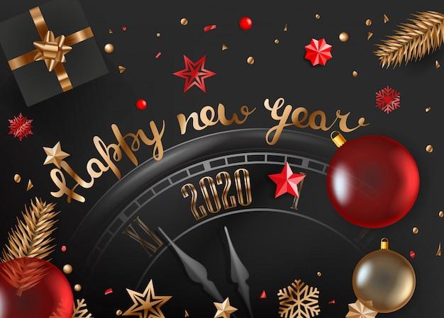 Feliz ano novo de 2020, caixa de natal, galhos de árvores de natal, enfeites de relógio e vidro