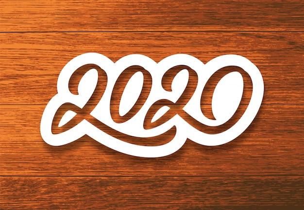 Feliz ano novo de 2020. cartão vintage