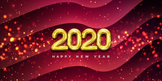 Feliz ano novo de 2020 com combinação de partículas brilhantes.