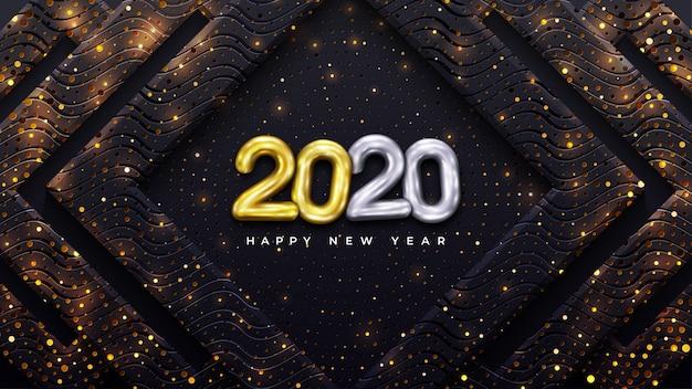 Feliz ano novo de 2020 com combinação de pontos brilhantes.