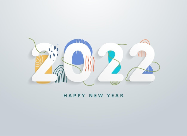 Feliz ano novo de 2020 com elementos de textura e forma de linha abstrata colorida. saudações e convites, parabéns com o tema natal de ano novo, cartões e fundo do banner. vetor. ilustração.
