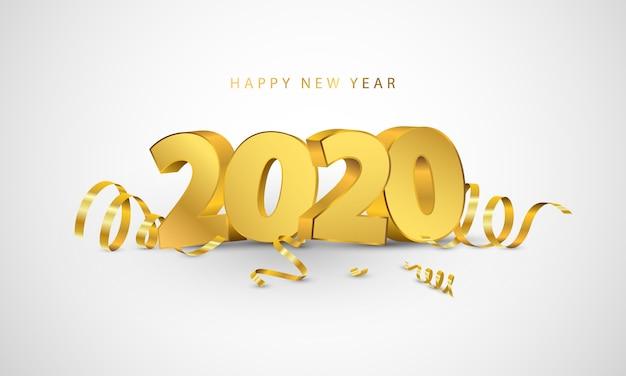 Feliz ano novo de 2020. design de cartão com confetes de ouro.