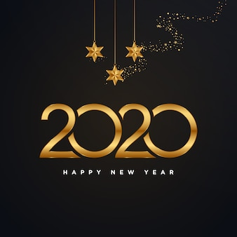 Feliz ano novo de 2020 dourado com ilustração de fogos de artifício ouro isolada no preto