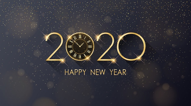 Feliz ano novo de 2020 dourado e relógio com glitter em fundo de cor preta