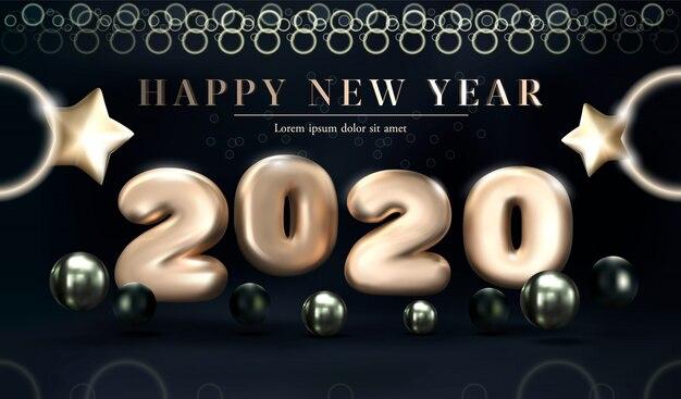 Feliz ano novo de 2020 em ouro sobre um fundo escuro