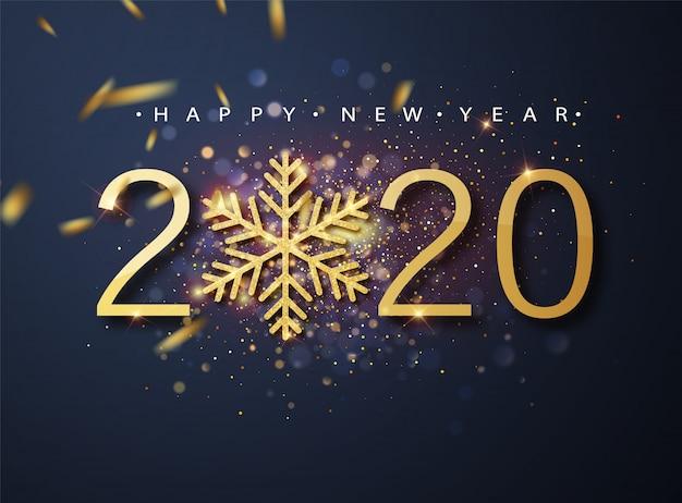 Feliz ano novo de 2020. feriado de números metálicos dourados 2020 e padrão de brilhos cintilantes.