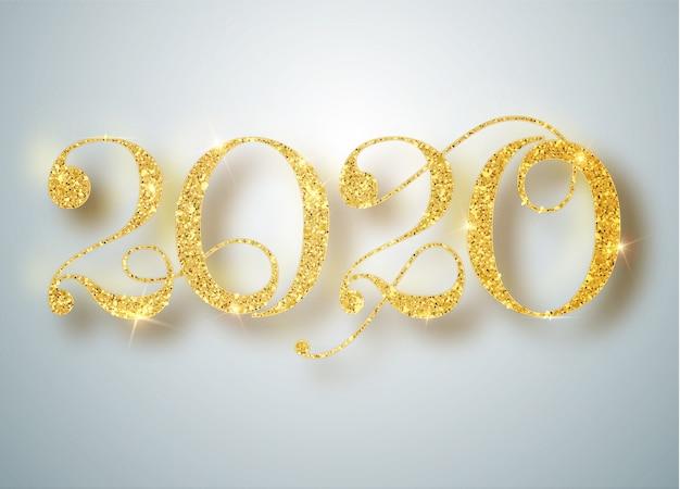 Feliz ano novo de 2020. férias de ouro metálico números 2020. sinal realista. cartaz ou banner festivo