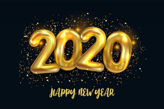 Feliz ano novo de 2020. ilustração em vetor férias de números metálicos balões dourados 2020