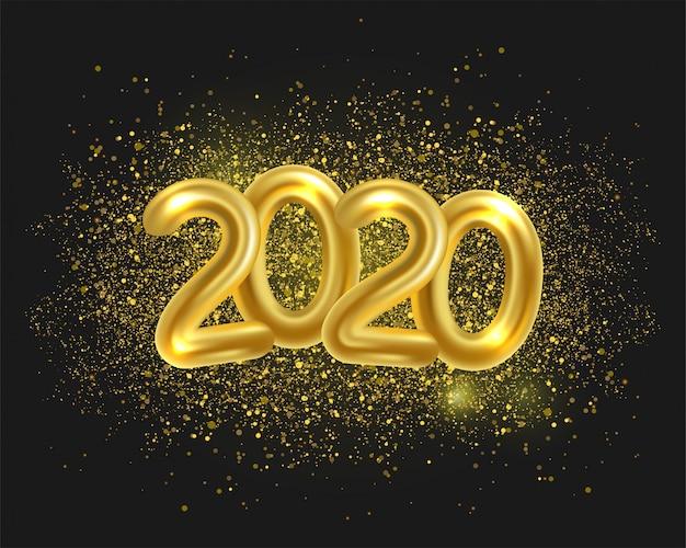 Feliz ano novo de 2020. ilustração em vetor férias de números metálicos dourados 2020 e brilhos cintilantes