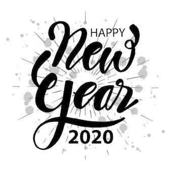 Feliz ano novo de 2020. rotulação
