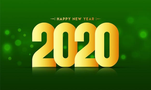 Feliz ano novo de 2020 texto dourado sobre fundo verde bokeh blur.