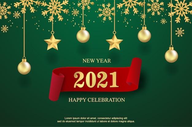 Feliz ano novo de 2021 com bolas e fundo estrela.