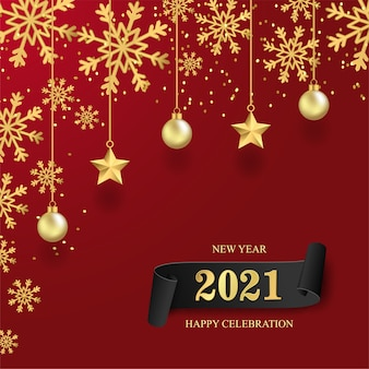 Feliz ano novo de 2021 com estrela em fundo vermelho.