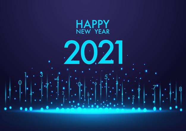 Feliz ano novo de 2021 com fundo azul