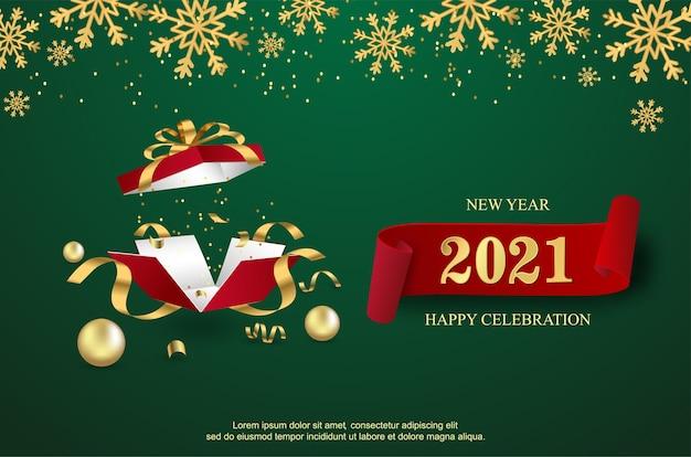 Feliz ano novo de 2021 com fundo de caixa de presente aberto.