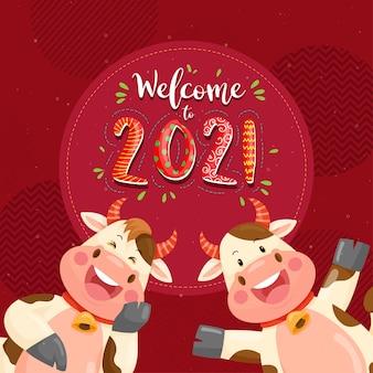 Feliz ano novo de 2021 com o personagem antúrio sorrindo