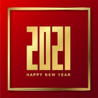 Feliz ano novo de 2021 com ouro sobre fundo vermelho