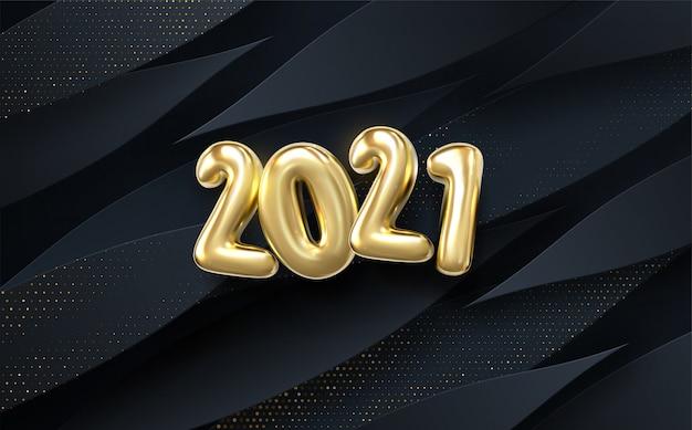 Feliz ano novo de 2021. feriado. papel preto cortado fundo. decoração abstrata realista papercut texturizada com camadas onduladas e padrão de efeito de meio-tom dourado.