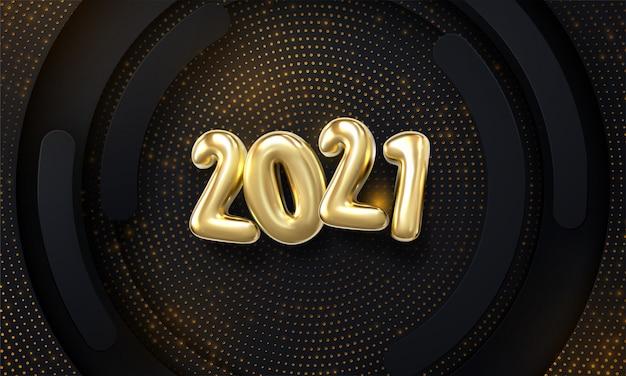 Feliz ano novo de 2021. ilustração de férias de números metálicos dourados 2021 e padrão brilhante sobre fundo de formas de papel preto