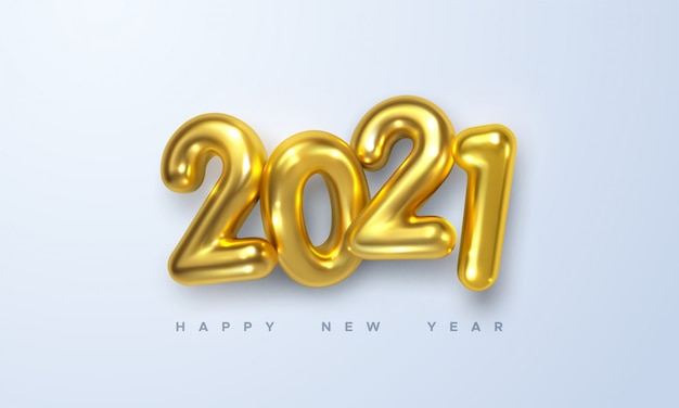 Feliz ano novo de 2021. ilustração de férias de números metálicos dourados 2021. sinal 3d realista.