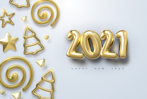 Feliz ano novo de 2021. ilustração de férias de ouro metálico números 2021 com bolas de natal, estrelas
