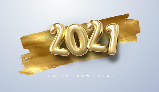 Feliz ano novo de 2021. ilustração de férias de papel cortado números com partículas de confetes brilhantes, estrelas douradas e serpentinas.