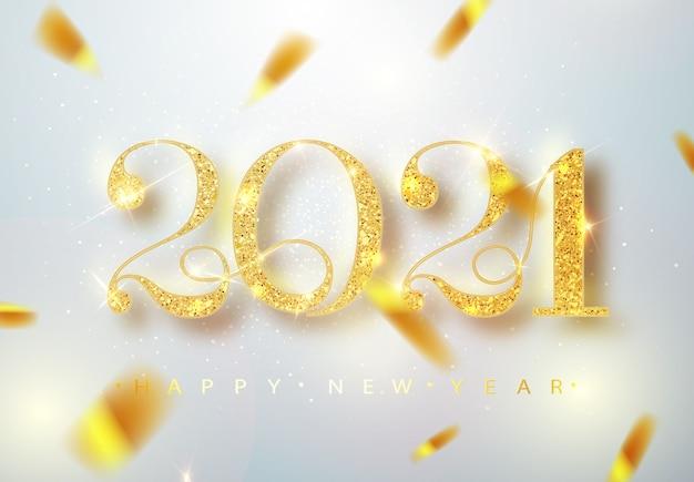 Feliz ano novo de 2021. ilustração em vetor de férias de números metálicos dourados 2021