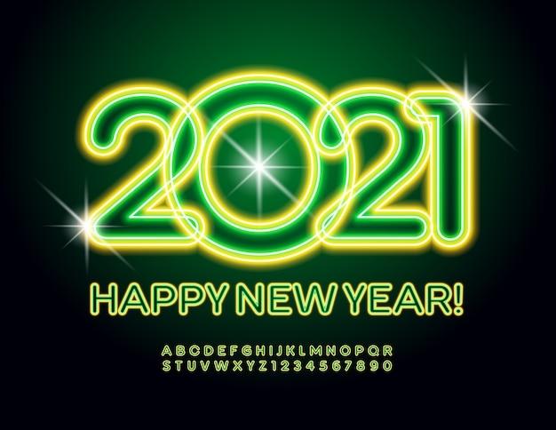 Feliz ano novo de 2021. letras e números do alfabeto iluminados