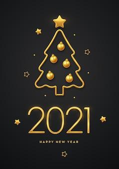 Feliz ano novo de 2021. luxo metálico dourado números 2021 com árvore de natal metálica dourada