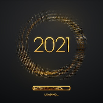 Feliz ano novo de 2021. luxo metálico dourado números 2021 com barra de carregamento em cintilante.