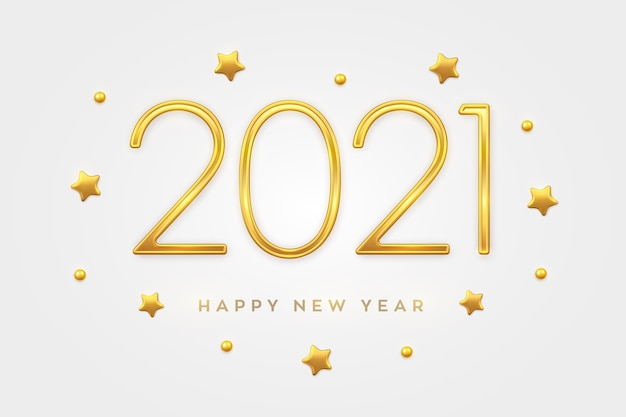 Feliz ano novo de 2021. luxo metálico dourado números 2021 com decorações de estrelas e contas de ouro.