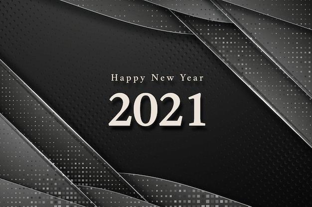 Feliz ano novo de 2021 no fundo preto elegante abstrato moderno luxo com hafton