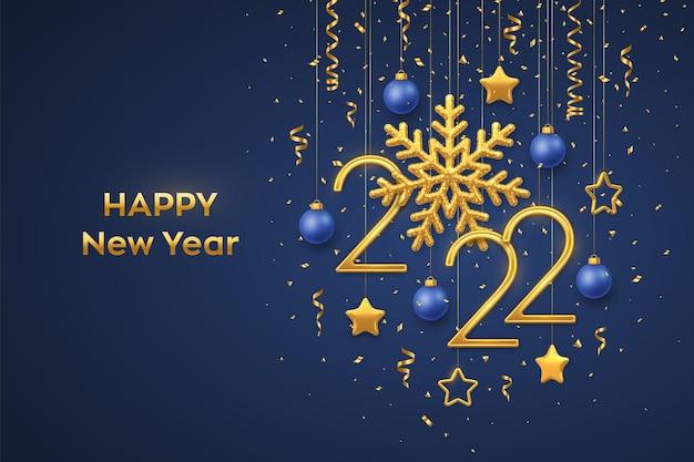 Feliz ano novo de 2021. números metálicos dourados de suspensão 2021 com floco de neve brilhante e confetes sobre fundo azul. cartão de ano novo ou modelo de banner. decoração do feriado. ilustração vetorial.