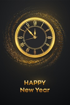 Feliz ano novo de 2021. relógio de ouro com algarismo romano e cartão comemorativo da meia-noite com contagem regressiva