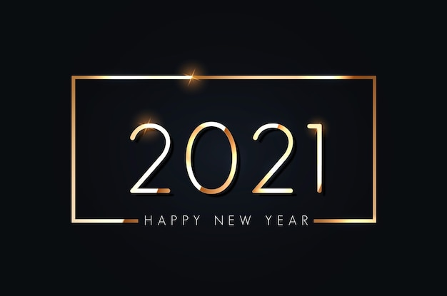 Feliz ano novo de 2021. texto elegante de ouro com luz.