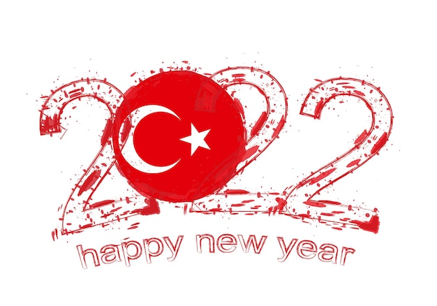 Feliz ano novo de 2022 com a bandeira da turquia.