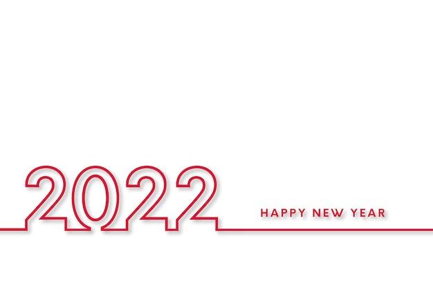 Feliz ano novo de 2022 com design de linha plana vermelha