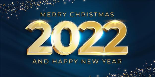 Feliz ano novo de 2022 com design dourado de números em fundo escuro elegante