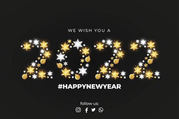 Feliz ano novo de 2022 com elementos de natal