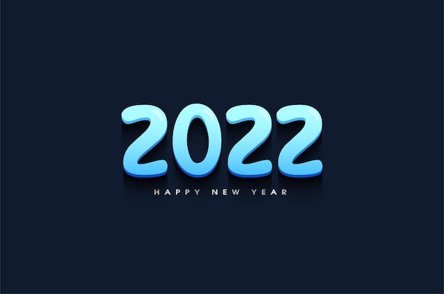 Feliz ano novo de 2022 com ilustração de números 3d em azul claro