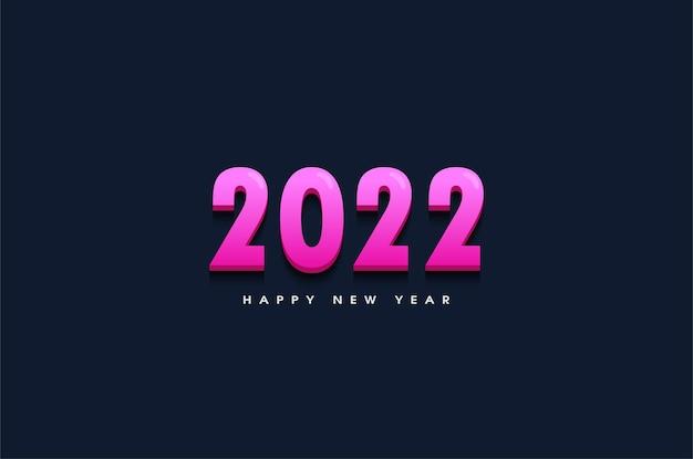 Feliz ano novo de 2022 com ilustração de números 3d