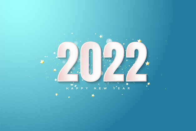 Feliz ano novo de 2022 com números brancos em um fundo azul brilhante