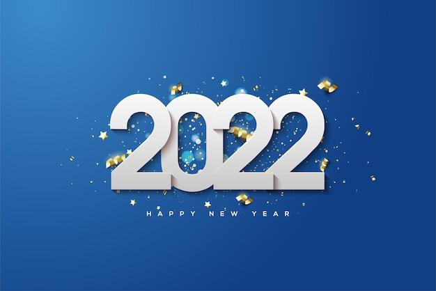 Feliz ano novo de 2022 com números brancos empilhados em um fundo azul