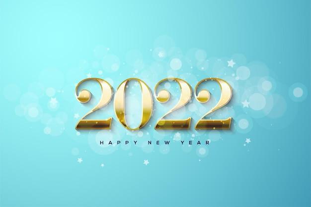 Feliz ano novo de 2022 com números dourados sobre fundo azul