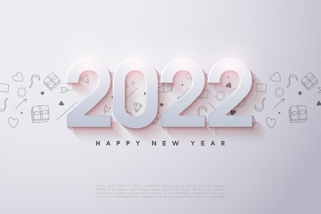 Feliz ano novo de 2022 com números em relevo e sombreados