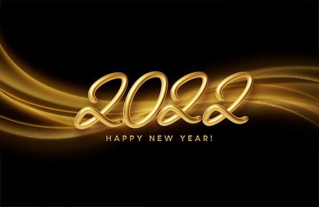 Feliz ano novo de 2022 com ondas douradas e brilhos dourados em fundo preto