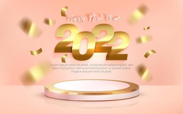 Feliz ano novo de 2022 com pódio 3d realista em fundo pastel
