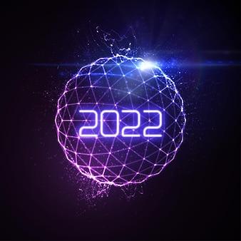 Feliz ano novo de 2022 com uma esfera de luz de néon brilhante futurista e raios de luz explosivos