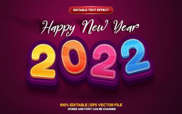 Feliz ano novo de 2022 desenho animado efeito de texto editável em 3d