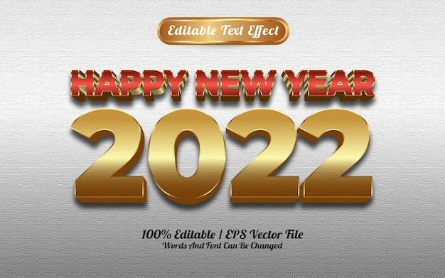 Feliz ano novo de 2022, efeito de texto de estilo dourado vermelho luxuoso com fundo prateado